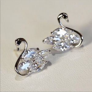 Dainty silver and white sapphire earrings